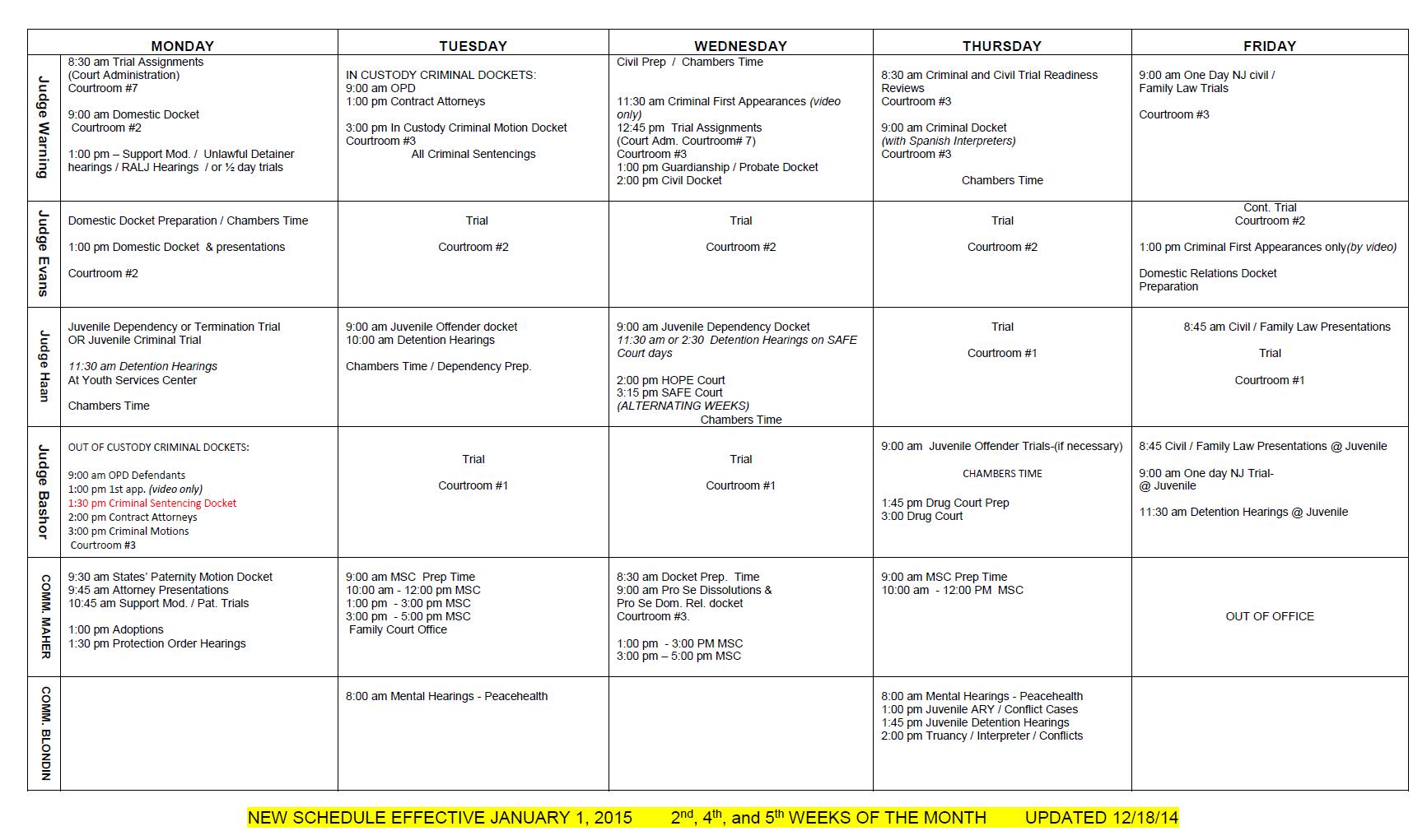 2015 Court Schedule