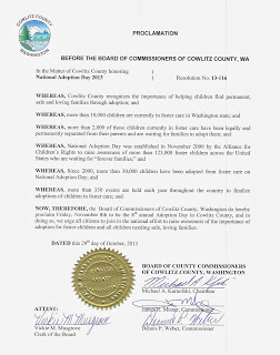 Adoption Day 2013 Proclamation for Cowlitz County